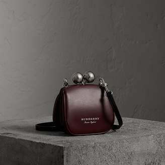 Burberry Mini Two-tone Leather Metal Frame Clutch Bag