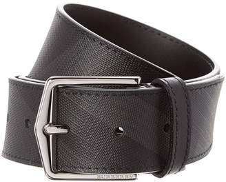Burberry Check & Leather Trim Belt