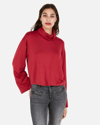Express One Eleven Cropped Flared Sleeve Sweatshirt