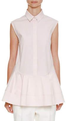Jil Sander Spread-Collar Sleeveless Button-Front Shirt with Shaped Peplum