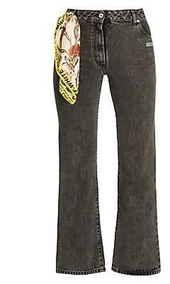 Off-White Women's Logo Detail Cropped Jeans