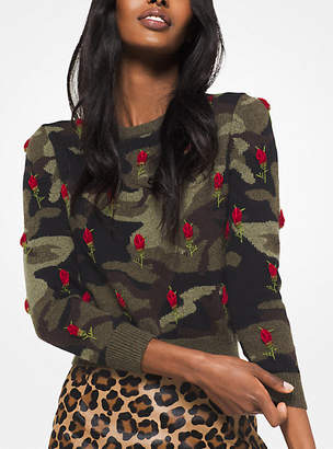 Michael Kors Rose Embroidered Camouflage Cashmere Pullover