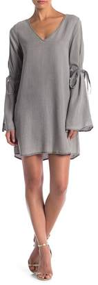 Naked Zebra Cold Shoulder Bell Sleeve Chambray Dress