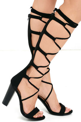 Curtain Call Black Tall Suede Lace-Up Heels $45 thestylecure.com