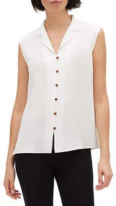 Lafayette 148 New York Nigella Button-Front Silk Double Georgette Sleeveless Blouse