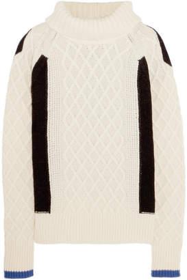 Preen Line Ellise Color-block Cable-knit Wool-blend Turtleneck Sweater