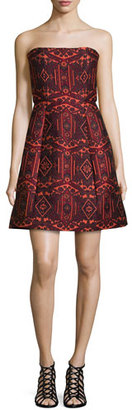 Alice + Olivia Nikki Strapless Tribal-Print Dress, Red/Orange $598 thestylecure.com