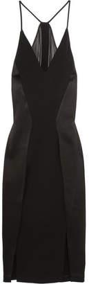 Halston Paneled Crepe, Chiffon And Satin Dress - Black
