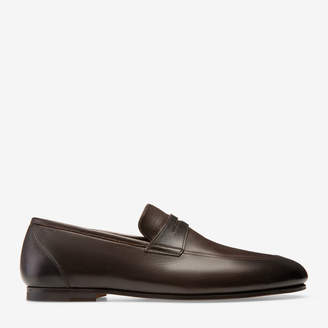 Bally Plator Brown, Men's plain calf leather penny loafer in coffee