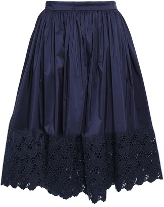 Lanvin Broderie Anglaise-paneled Cotton And Silk-blend Skirt