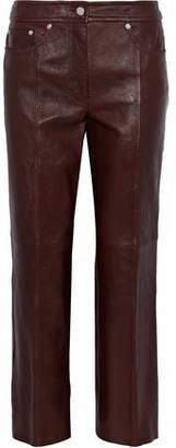 Helmut Lang Cropped Leather Straight-Leg Pants