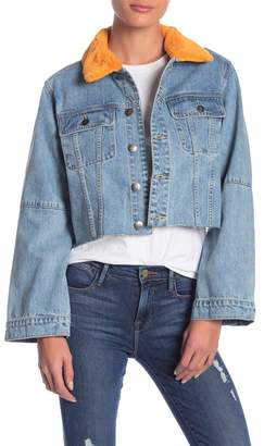 MinkPink Chloe Interchangeable Faux Fur Trim Denim Jacket