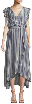 Splendid Striped Tulip-Sleeve Chambray Maxi Dress