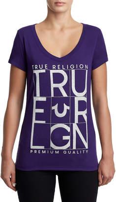 True Religion WOMENS CRYSTAL EMBELLISHED GRID LOGO TEE