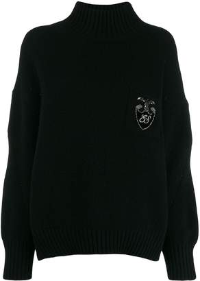Ermanno Scervino crystal embellished logo sweater