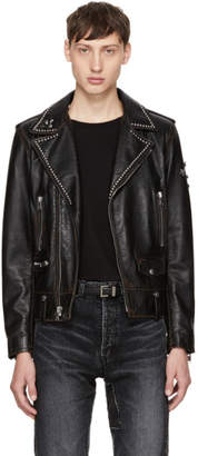 Saint Laurent Black Studded Leather Motorcycle Jacket