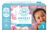 The Honest Company Rose Blossom/Sliced Fruit Size 1 Club Box Diapers