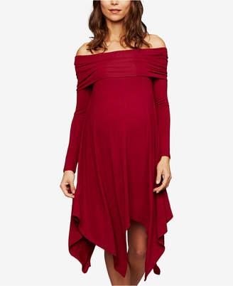 A Pea in the Pod Bcbgmaxazria Maternity Off-The-Shoulder Handkerchief-Hem Dress