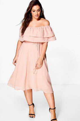 boohoo Plus Ruffle Tie Waist Skater Dress