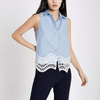 River Island Womens Blue lace hem sleeveless shirt