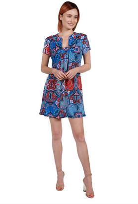 24/7 Comfort Apparel 24Seven Comfort Apparel Cynthia Orange and Turquoise Mini Dress - Plus