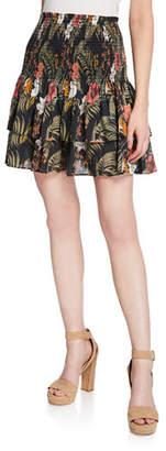 Rebecca Minkoff Amari Smocked Floral Tiered Flounce Skirt