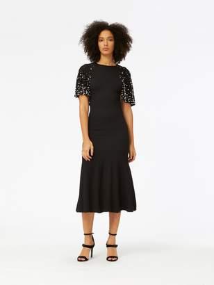 Oscar de la Renta Pearl Embroidered Cape-Back Wool Dress
