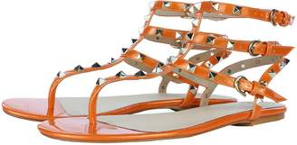 Royou Yiuoer Women's Leather Studded Sandals Beach T-strap Flats Gladiator Sandals
