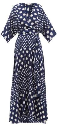 Diane von Furstenberg Eloise Spot Print Wrap Silk Dress - Womens - Navy Multi