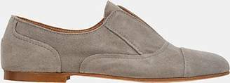 Barneys New York WOMEN'S SUEDE LACELESS OXFORDS - GRAY SIZE 6