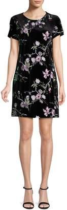 Calvin Klein Collection Embroidered Velvet Shift Dress