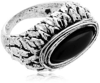 Round Onyx & Silver Ring