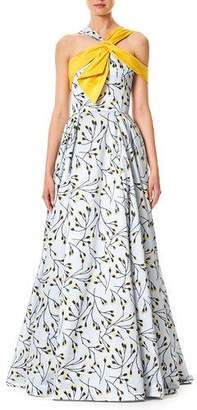 Carolina Herrera Floral-Bud Print Sleeveless Cotton-Sateen Evening Gown
