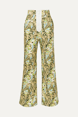 Miu Miu Printed High-rise Wide-leg Jeans - Green