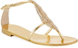 Giuseppe Zanotti Metallic Crystal Mesh Flat Sandals
