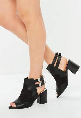 Missguided Black Open Back Western Block Heel Sandals