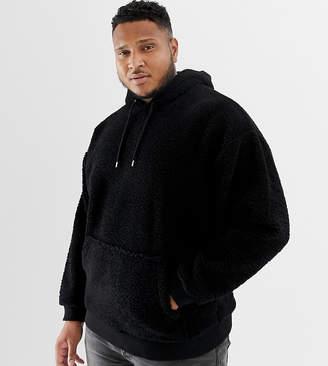 Asos DESIGN plus oversized hoodie in borg black