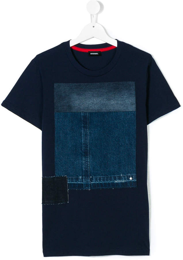 T-Shirt mit Jeans-Patches
