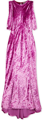 ATTICO Asymmetric Draped Crushed-velvet Dress - Magenta