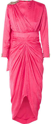 Dodo Bar Or - Grace Embellished Draped Silk-jacquard Dress - Bright pink