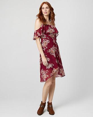 Le Château Floral Print Chiffon Cold Shoulder Dress