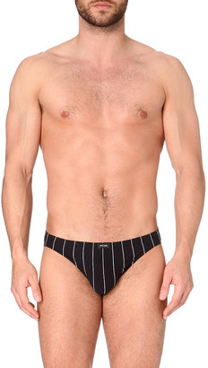 Hom Pinstripe stretch-cotton micro briefs $23 thestylecure.com