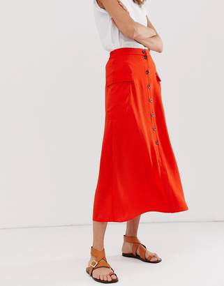 Asos Design DESIGN soft utility city maxi skirt with button front