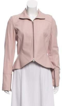 Diane von Furstenberg Leather Jacket w/ Collar