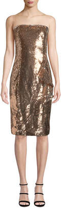 Parker Black Noelle Sequined Strapless Knee-Length Cocktail Dress