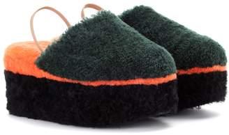 Fendi Shearling platform slippers