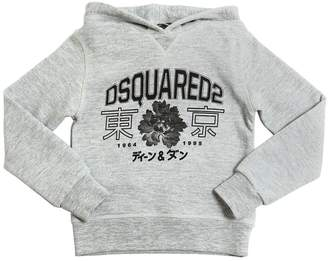 DSQUARED2 Logo Print Hooded Cotton Sweatshirt