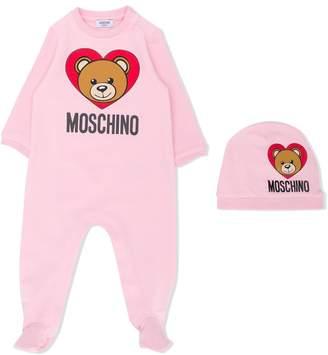 Moschino Kids Teddy heart logo print babygrow set