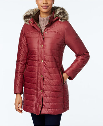Barbour Rossendale Faux-Fur Hooded Quilted Puffer Coat $379 thestylecure.com