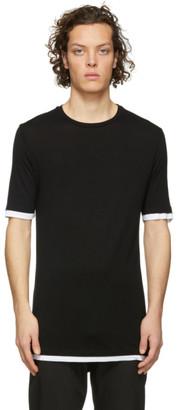 Neil Barrett Black Viscose Travel Double Hem Slim T-Shirt
